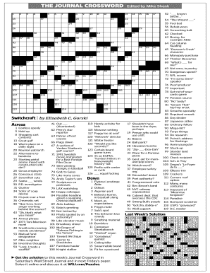 photo about Fill in Crossword Puzzles Printable titled Fillable Pdf Crosswords Wsj - Fill On the internet, Printable