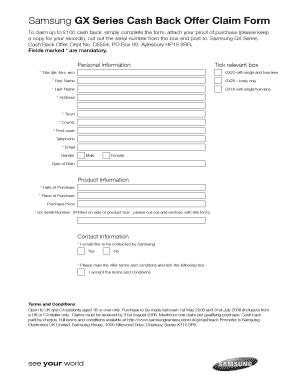 Fillable Online Samsung GX Series Cash Back Offer Claim Form Fax ...