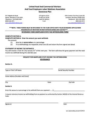 Fillable Online Severance MD State Tax Withholding Form ...