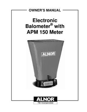 Electronic Balometer with APM 150 Meter Owners Manual Electronic Balometer with APM 150 Meter Owners Manual