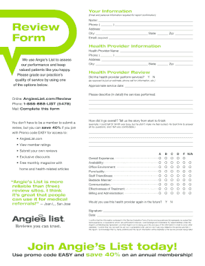 angies list review form