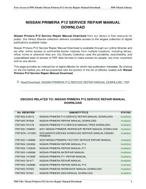 nissan primera p12 manual fill online printable fillable blank rh nissan primera p12 manual pdffiller com
