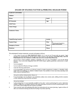 Piercing Release Form - Fill Online, Printable, Fillable, Blank ...