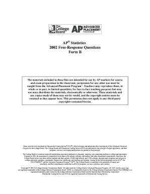 Fillable Online 2002 AP Statistics Free-Response Questions Form B ...