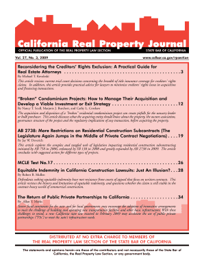 California Real Property Journal Official Publication of the Real Property Law Section Vol