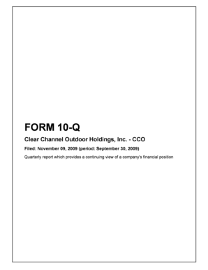 - CCO Filed: November 09, 2009 (period: September 30, 2009) Quarterly report which provides a continuing view of a company's financial position Table of Contents 10-Q - FORM 10-Q PART I Item 1