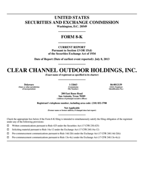 Form 8K Filing - July 8, 2013 - Clear Channel Outdoor