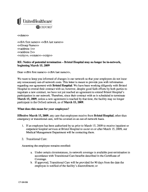Sample Benefit Termination Letter from www.pdffiller.com