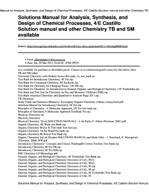 analysis synthesis and design of chemical processes 4th edition rh pdffiller com solutions manual for quantitative chemical analysis pdf solutions manual for radar systems analysis and design using matlab pdf