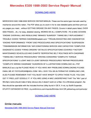 Fillable online mercedes e320 1998 2002 service repair manual fill online publicscrutiny Image collections