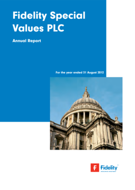 Fidelity Special Values PLC Annual Report For the year ended 31 August 2012 Contents Objective and Financial Calendar 1 Highlights 2 Financial Summary 3 Chairman