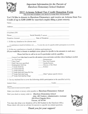 Fillable Online 2012 Arizona School Tax Credit Donation Form Fax ...