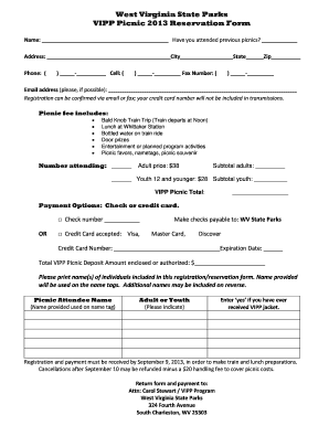 West Virginia State Parks VIPP Picnic 2013 Reservation Form