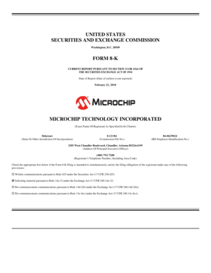 20549 FORM 8-K CURRENT REPORT PURSUANT TO SECTION 13 OR 15(d) OF THE SECURITIES EXCHANGE ACT OF 1934 Date of Report (Date of earliest event reported) February 22, 2010 MICROCHIP TECHNOLOGY INCORPORATED (Exact Name Of Registrant As Specified