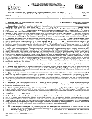Chicago Vacant Land Purchase And Contract Fillable Form