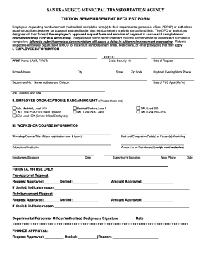 fillable online sfmta tuition reimbursement request form san francisco fax email print. Black Bedroom Furniture Sets. Home Design Ideas
