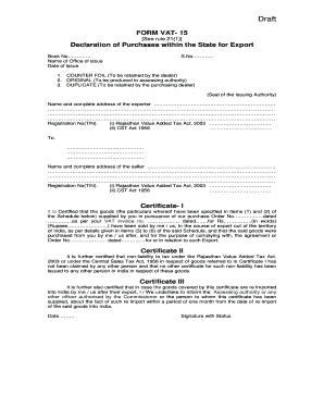 FORM VAT- 15 Declaration of Purchases within the State for Export