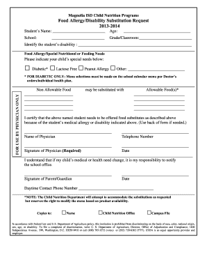 Fare Allergy Form In Word Document - Fill Online, Printable ...