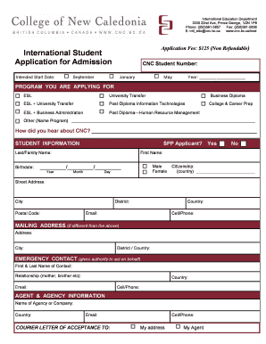 International Student Application for Admission