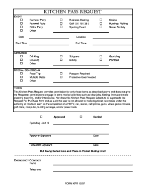 Kitchen Pass Form - Fill Online, Printable, Fillable, Blank ...