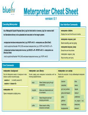 Fillable Online Meterpreter Cheat Sheet Fax Email Print - PDFfiller