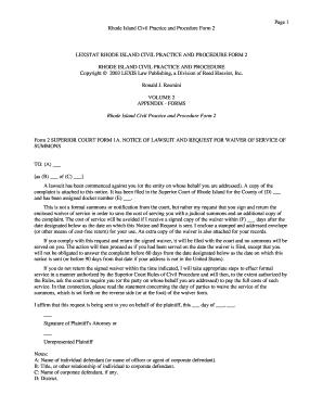 Fillable Online Form 2 Superior Court Form 1A Notice of Lawsuit ...