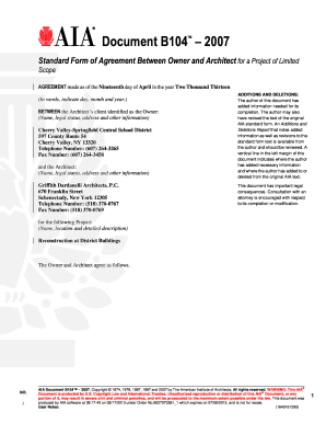 Fillable online b104 2007 owner architect agreement aia contract fill online platinumwayz