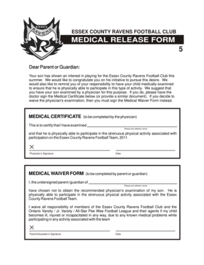 MEDICAL RELEASE FORM - HomeTeamsONLINE