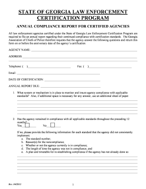 Annual Compliance Report - Georgia Association of Chiefs of Police