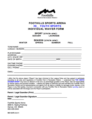 Foothills Sports Arena 20 Youth Individual Waiver Form