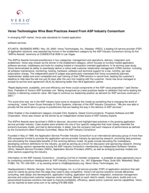 Verso Technologies Wins Best Practices Award From ASP Industry Consortium In emerging ASP market, Verso sets standards for hosted application software services ATLANTA--(BUSINESS WIRE)--Nov