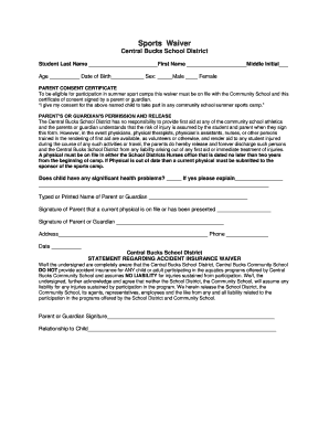 Fillable Online Sports Waiver Form - Central Bucks School District ...