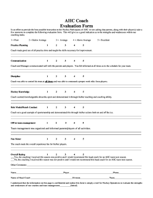 Coach Evaluation Formpdffillercom Fill Online Printable Fillable