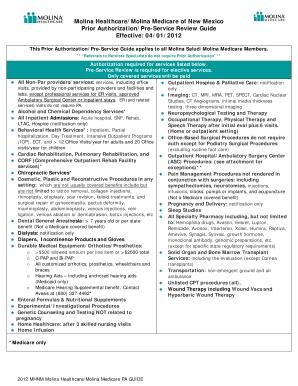 Molina Healthcare New Mexico Prior Authorization Form