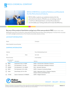 Fillable Online RICCA CHEMICAL Analytical Solutions and