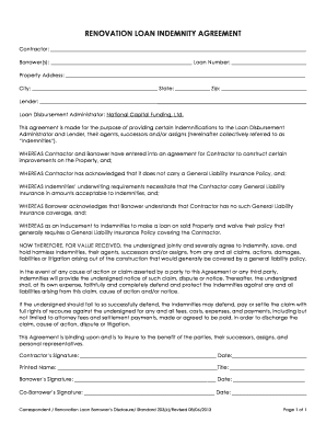 renovation loan indemnity agreement form