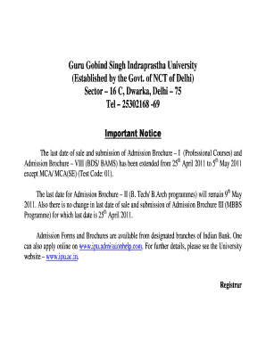 Admission Form Notice - AglaSem Admissions