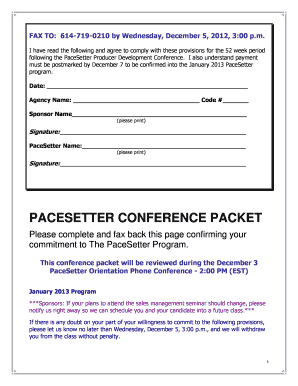 Pre-conference sponsor call - The PaceSetter Program State Auto ...