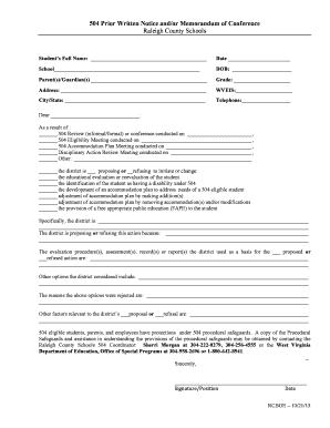 Fillable 504 plan anxiety disorder - Edit, Print ...