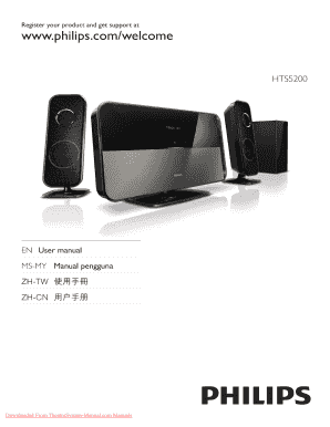 fillable online philips hts5200 cinema home theatre system user rh pdffiller com Philips Phone Systems philips landline phone manual