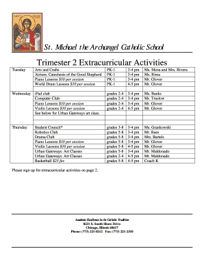 Extracurricular sign up sheet - St. Michael the Archangel - stmichaelsouthshore