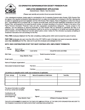 Fillable Online Alberta Employee Membership Application Form Css