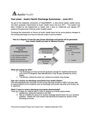 Fact Sheet   Austin Health Discharge Summaries June 2011