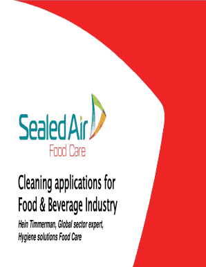 Fillable cleaning and sanitation in the food industry ppt
