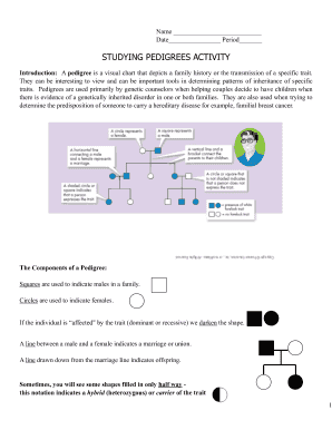 Studying Pedigrees Activity - Fill Online, Printable ...