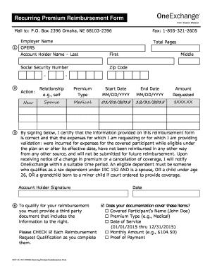 oneexchange reimbursement form Fillable Online Recurring Premium Reimbursement Form - bOneExchangeb ...