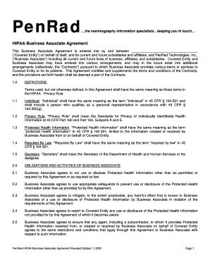 8 printable hipaa business associate agreement template. Black Bedroom Furniture Sets. Home Design Ideas