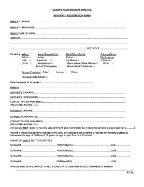 Fillable Online NEW BIRTH REGISTRATION FORM - eqrmpcom Fax Email