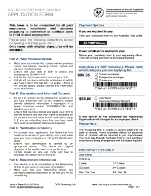 DCSI Child Related Employment Screening form - SUSA - susa org