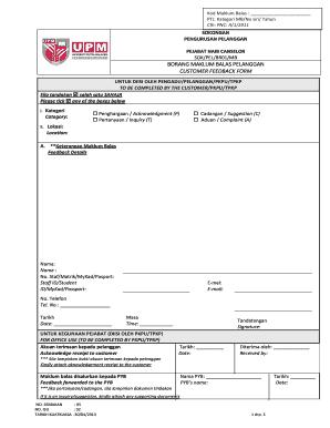 Fillable Online Borang Maklum Balas Pelanggan Customer Feedback Form Upm Fax Email Print Pdffiller